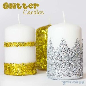 DIY Glitter Candles is an easy Christmas craft for kids and grown ups.