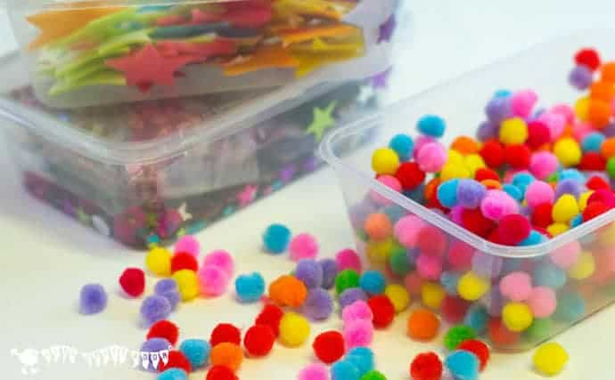 organizing-art-supplies-with-food-containers