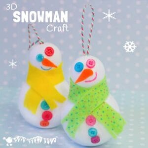 CUTE SNOWMAN ORNAMENTS - Easy 3D Snowman Craft for kids - great for hanging on the Christmas tree or for small world play. Kids will love how quick it is to make a Snowman friend. #christmas #winter #christmascrafts #wintercrafts #ornaments #snowman #snowmen #snowmancraft #wintercraftideas #kidscrafts #kidscraftroom