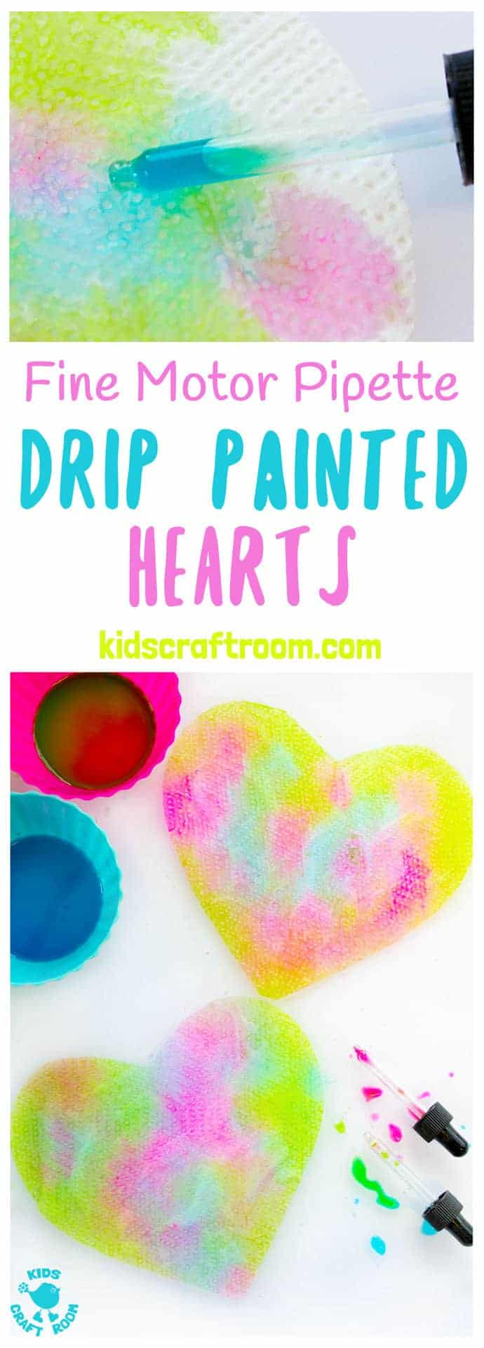 PIPETTE DRIP PAINTING HEARTS is a fun open ended process art for kids that develops fine motor skills, and explores colour mixing and pattern making. #painting #paintingideas #kidspainting #paintingforkids #motorskills #valentine #valentinesday #valentinesdaycraft #valentinecraft #valentinescrafts #valentinecrafts #valentinesdayforkids #heart #love #kidsart #processart #finemotorskills #kidsactivities #kidscrafts #kidscraftroom