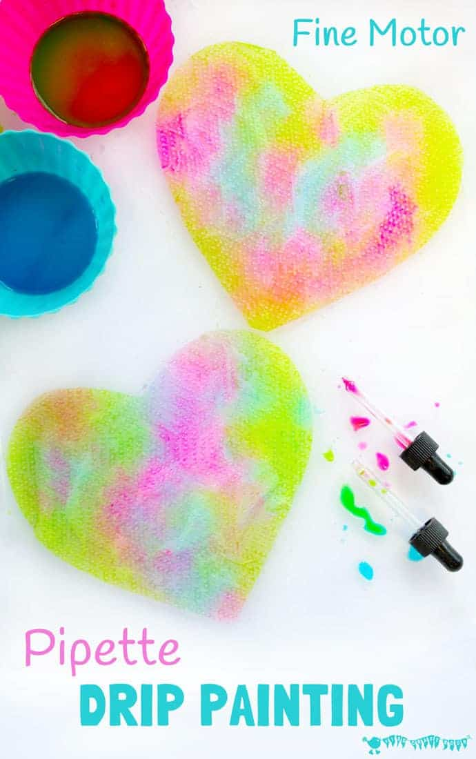 PIPETTE DRIP PAINTING HEARTS is a fun open ended process art for kids that develops fine motor skills, and explores colour mixing and pattern making. Great Valentines art for kids. #kidscraftroom #painting #paintingideas #kidspainting #paintingforkids #motorskills #valentine #valentinesday #valentinesdaycraft #valentinecraft #valentinescrafts #valentinecrafts #valentinesdayforkids #kidsart #processart #finemotorskills #kidscrafts