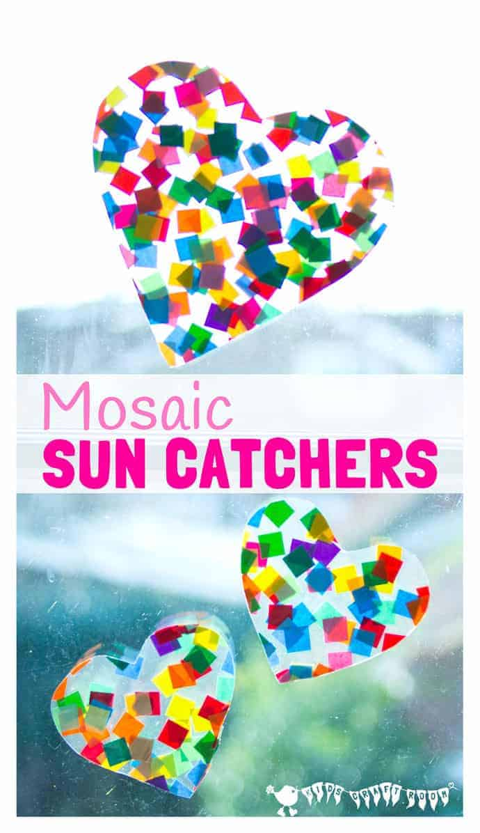 HEART SUNCATCHER MOSAICS for kids look gorgeous! Window art that's pretty, colourful and easily adaptable for kids of all ages. Fun for Valentine's Day, Mother's Day and Summer. #kidscraftroom #mothersdaycrafts  #kidscrafts #suncatcher #suncatchercrafts #mothersday #valentine #valentinesday #valentinesdaycraft #heartcrafts #craftsforkids #summer #summercrafts #preschoolcrafts #craftideasforkids #valentinecraft #valentinescrafts #valentinecrafts #valentinesdayforkids