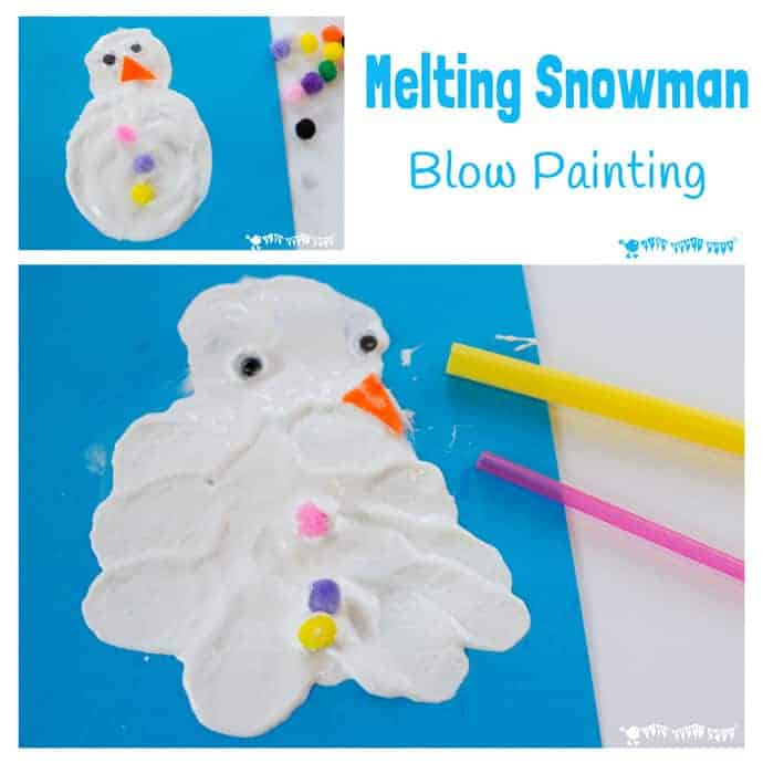MELTING SNOWMAN BLOW PAINTING ACTIVITY - A Winter painting activity for kids to enjoy the thrills of snowman building and melting even when there isn't any real snow! #snowman #snowmancraft #painting #paintingforkids #kidsart #winter #winterart #artideas #artforkids #snowmanactivity #paintingideas #blowpainting #sensory #winteractivities #winterplayideas #playideas #invitationtocreate #creativekids #kidsartideas #snowmen #paintingactivity #kidsactivities