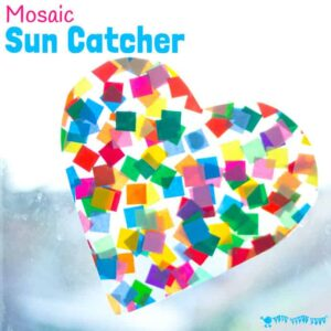 HEART SUNCATCHER MOSAICS for kids look gorgeous! Window art that's pretty, colourful and easily adaptable for kids of all ages. Fun for Valentine's Day, Mother's Day and Summer. #valentine #valentinesday #valentinesdaycraft #heartcrafts #mothersdaycrafts #kidscrafts #suncatcher #suncatchercrafts #kidsactivities #craftsforkids #summer #summercrafts #preschoolcrafts #craftideasforkids #valentinecraft #valentinescrafts #valentinecrafts #valentinesdayforkids #kidssummercrafts