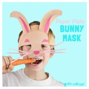 PAPER PLATE BUNNY RABBIT MASK with whiskers - great for imaginative play. A fun paper plate Easter bunny rabbit craft for kids. #easter #eastercrafts #rabbit #rabbitcrafts #bunny #easterbunny #bunnycrafts #paperplates #paperplatecrafts #kidscrafts #craftsforkids #masks #maskcrafts #costumes #dressingup #pretendplay #play #playideas #dramaticplay #imaginativeplay #kidscraftroom #springcrafts
