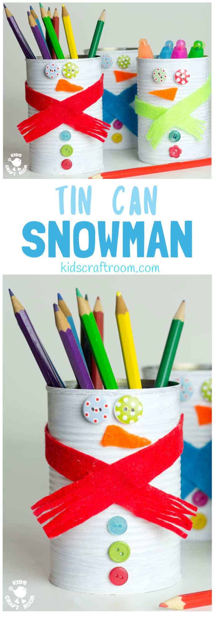 TIN CAN SNOWMAN CRAFT - Kids will love turning old tin cans into Snowman Desk Tidies and a Snowman Bowling Game with this cute and easy Tin Can Snowman Craft. A fun Winter craft for kids. #snowman #snowmancrafts #wintercrafts #wintercraftideas #wintercraftsforkids #recycledcrafts #tincan #craftideasforkids #kidscraftroom