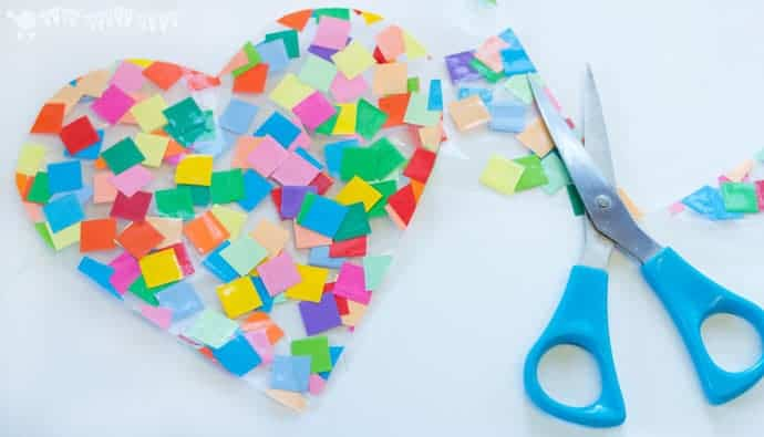 step 3 - HEART SUNCATCHER MOSAICS for kids look gorgeous! Pretty, colourful and easily adaptable for kids of all ages.You'll love having these on your window.
