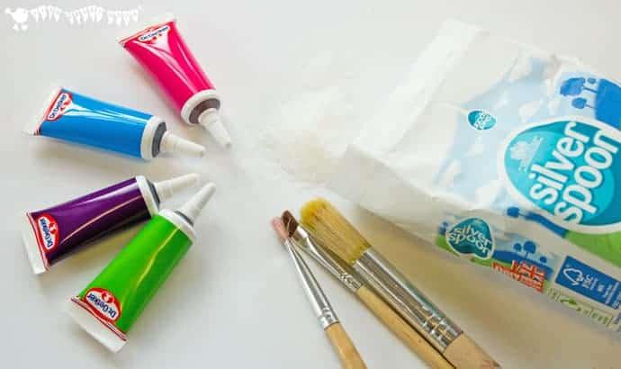 sugar-and-food-colouring-for wax-resist-sugar-wash-painting