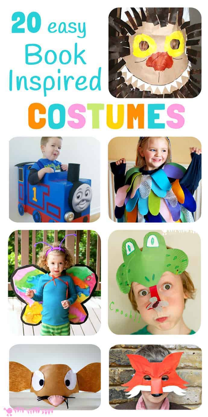 20 easy DIY Book Inspired Costumes perfect for dressing up on World Book Day and Children's Book Week and as homemade Halloween costumes. #costumes #dressup #dramaticplay #worldbookday #bookweek #homemadecostumes #bookactivities #kidsbooks #kidsliterature #kidscraftroom #DIYcostumes