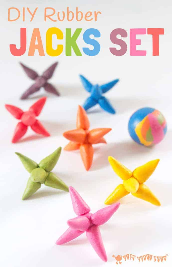 Make a DIY RAINBOW JACKS GAME with this easy and colourful Sugru craft. A fun rainbow craft and homemade toy for kids.