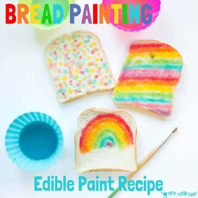 ART YOU CAN EAT is such fun! Check out our easy EDIBLE PAINT RECIPE and get the kids busy creating their own RAINBOW BREAD MASTERPIECES.