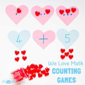 COUNTING FOR KIDS GAMES - three fun ways to develop early years math understanding of one to one correspondence, number recognition and number sentences.