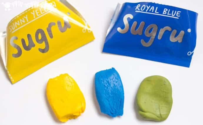 mixing-Sugru-colours- Make a DIY rubber JACKS GAME with this easy and colourful Sugru craft.