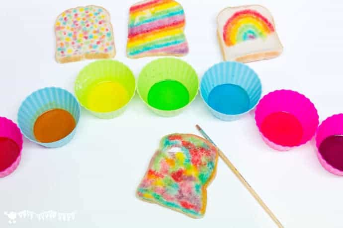 Edible Paint Recipe - Rainbow Bread - Kids Craft Room
