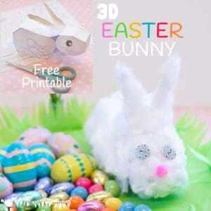 Kids will love this free 3D Easter Bunny printable. Simply print, cut out, stick and decorate to make an Easter Bunny craft you can actually play with.
