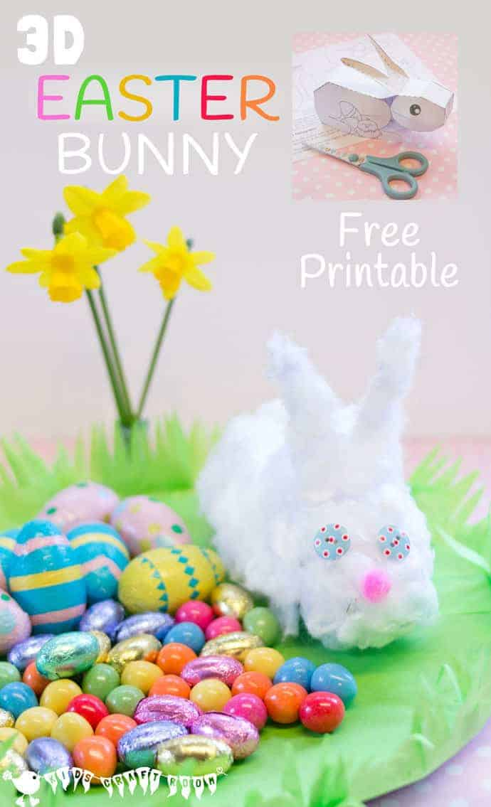 graphic about Printable Easter Decorations called 3D Easter Bunny Printable - Little ones Craft Place