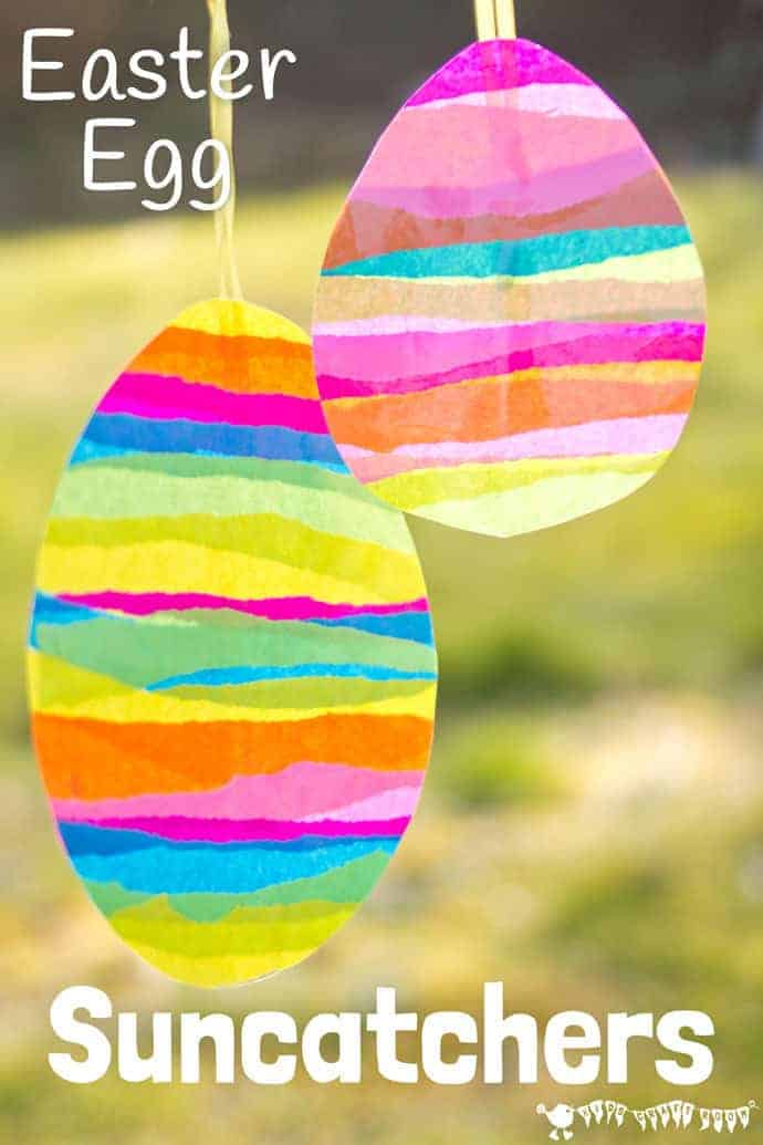 This EASTER EGG SUNCATCHER CRAFT for kids is so bright and colourful. They look beautiful hanging in windows and they can be hung outside for Easter egg hunts too.