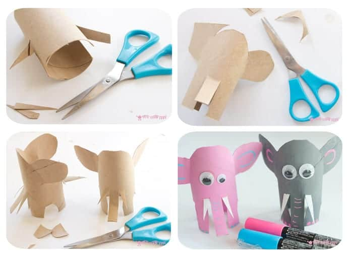How-To-Make-A-Cardboard-Tube-Elephant. This Jungle Scene Playset looks amazing and is so easy to make using toilet paper roll crafts. Such a great way to spark creativity and imaginative play!