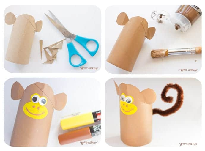 How-To-Make-A-Cardboard-Tube-Monkey. This Jungle Scene Playset looks amazing and is so easy to make using toilet paper roll crafts. Such a great way to spark creativity and imaginative play!