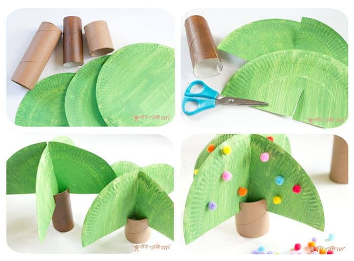 How-To-Make-Toilet-Paper-Roll-Trees. This Jungle Scene Playset looks amazing and is so easy to make using toilet paper roll crafts. Such a great way to spark creativity and imaginative play!