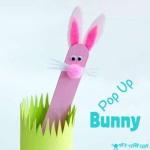 POP UP BUNNY RABBIT PUPPET A simple popsicle stick rabbit craft for Easter or all year round. A fun homemade toy to promote imaginative play, story telling and games of peek-a-boo!
