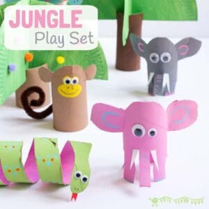 This Jungle Play Set looks amazing and is easy to make from toilet paper roll crafts. Such a great way to spark creativity and imaginative play with cardboard tube crafts! #cardboardtubes #junglecrafts #animalcrafts #tprolls #cardboardtubecrafts #recycledcrafts #kidscrafts #craftsforkids #kidscraftroom #homemadetoys #elephantcrafts #monkeycrafts #snakecrafts