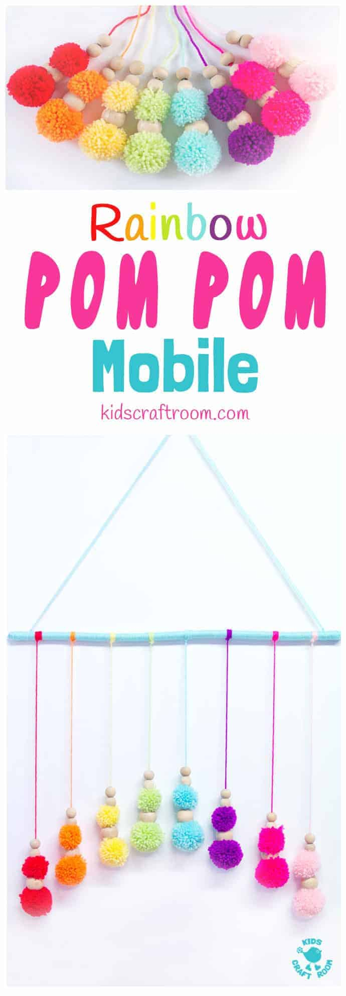 DIY RAINBOW POM POM MOBILE - brighten up your baby nursery, kids bedrooms or add a splash of colour to your living area with this cute and easy pom pom craft. A super way to use up yarn scraps. #rainbow #mobile #homemademobile #diymobile #yarncrafts #pompomcrafts #pompoms #rainbows #kidsdecor #kidsbedroom #kidscrafts #craftsforkids #kidscraftroom
