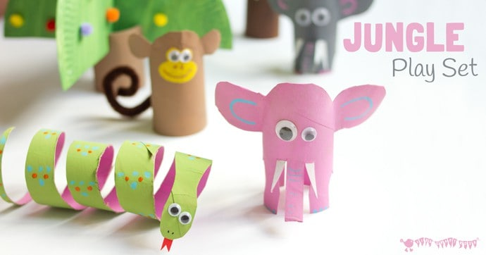 Jungle Scene Playset From Toilet Paper Roll Crafts Kids
