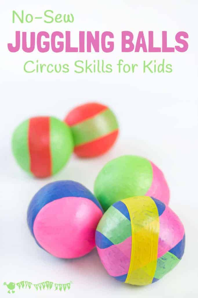Learn how to make juggling balls with this easy no-sew method using balloons. Kids will enjoy developing their circus skills and juggling is a fun activity to promote gross motor skills, balance, co-ordination and of course patience and determination too!
