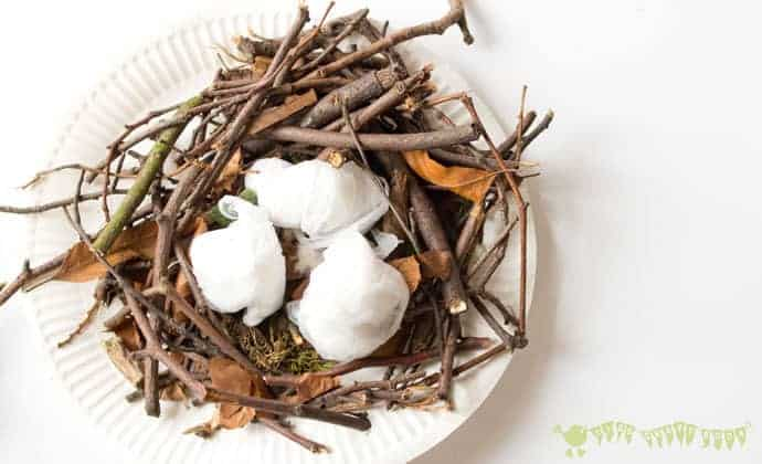 Make A Birds Nest STEAM project is a fun way to challenge your kids and get them testing out their ideas and problem solving. Can you build a nest using natural materials just like real birds do? No glue or tape allowed!