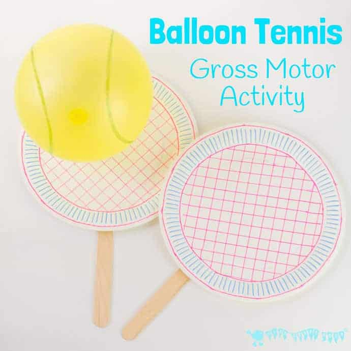 BALLOON TENNIS a great game to play inside or outdoors. Kids will love letting off steam and developing their gross motor skills.