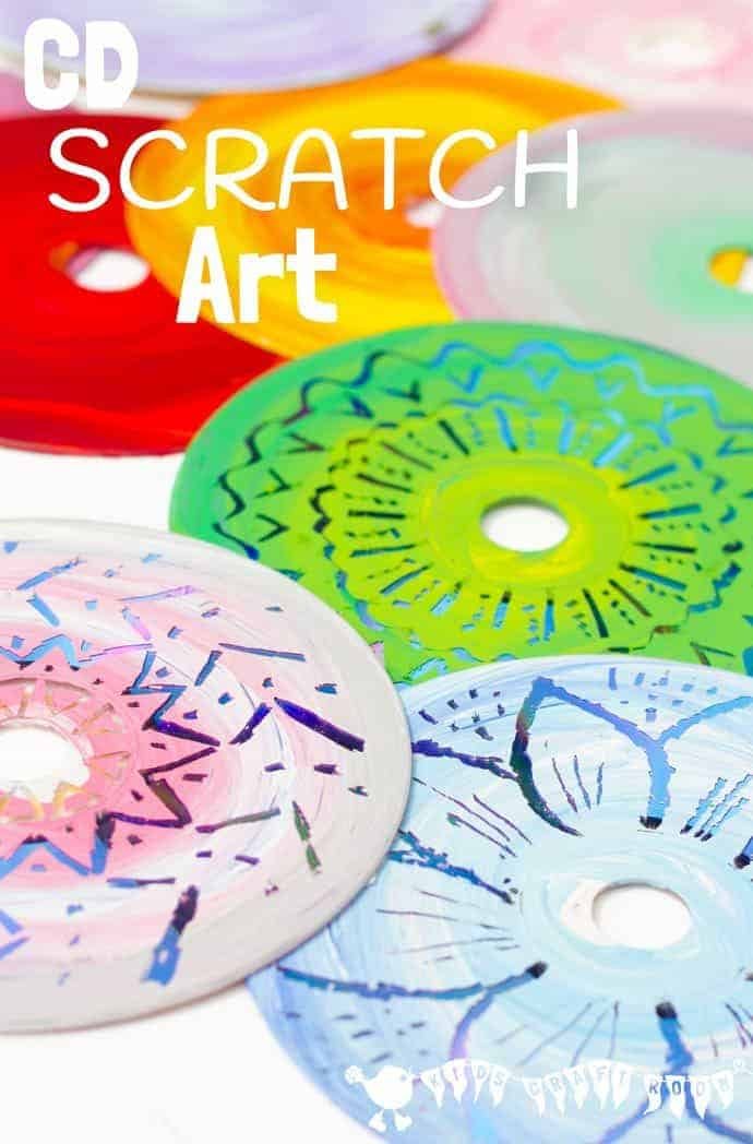 colourful cd scratch art kids recycled art kids craft room