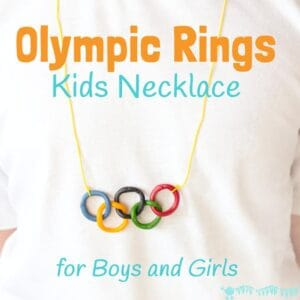 This Olympic craft for kids is a great way to get them interested and involved in the exciting sporting event. Boys and girls will love to make and wear this Olympic Rings Kids Necklace.
