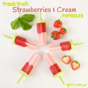 STRAWBERRIES & CREAM POPSICLES - Get ready for Summer with this fruit packed popsicle recipe. With no added sugar or nasties each ice lolly gives you one of your five-a-day. Yum!