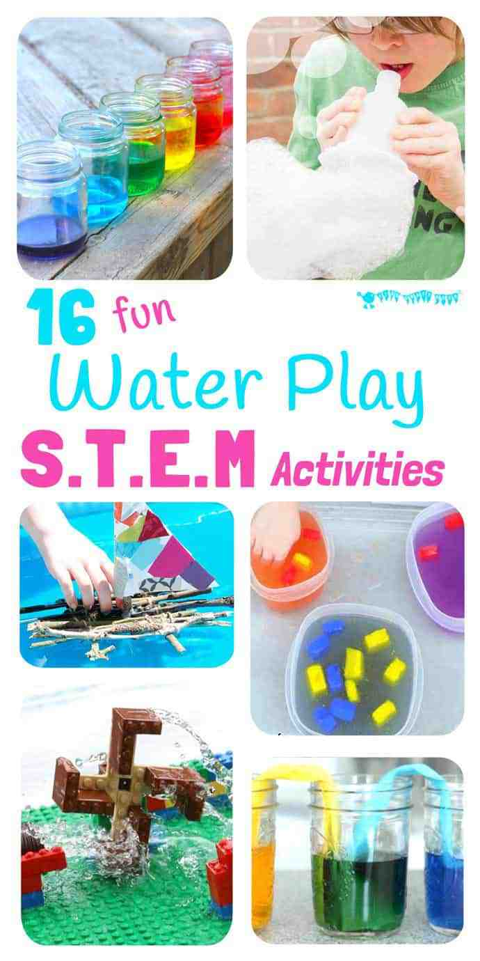 16 exciting Water Play STEM projects kids will love! STEM Water play ideas are great educational Summer activities...Kids learn best when they're having fun! #STEM #STEAM #STEMchallenge #water #watertable #waterplay #play #playideas #outdoorplay #kidscraftsroom #kidsactivities #earlyyears #ECE #preschool #prek #preschoolactivities #outsideplay #STEMactivities