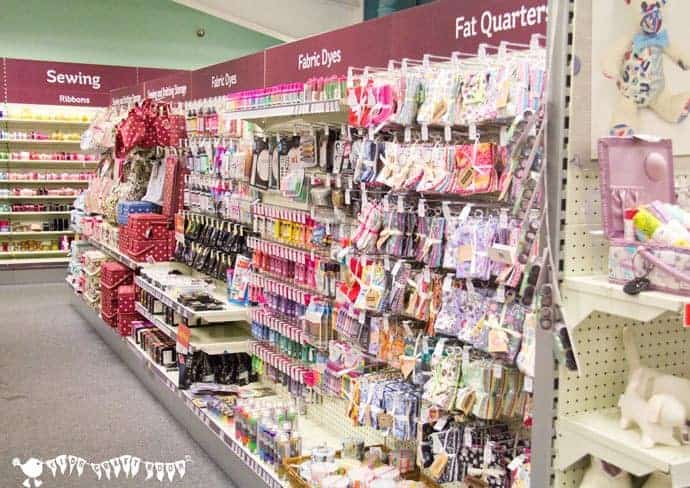 A-trip-to-Hobby-Crafts-Sewing-Section to buy fabric for clothespin butterflies.