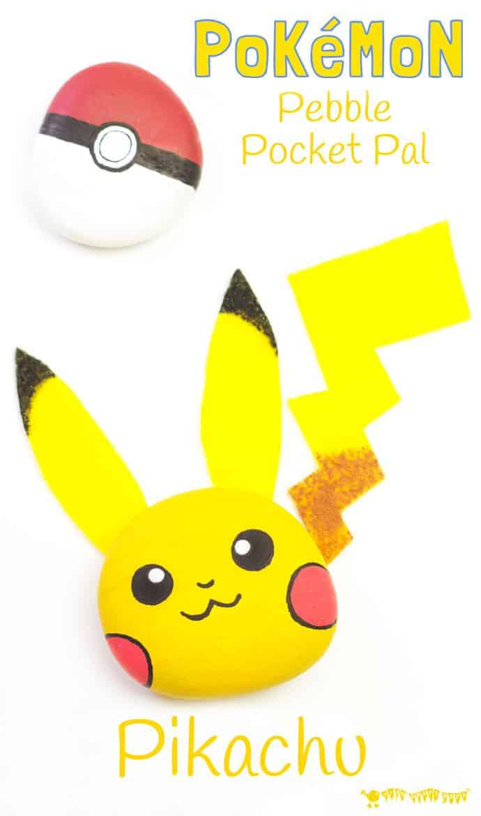 Pikachu Craft - An easy and cute Pokémon pebble craft. Pikachu is a pocket pal you can actually play with! This fun Pebble Pikachu is a great Pokemon DIY for Pokemon Go fans...gotta catch 'em all! #pokemon #pokémon #pikachu #rockcrafts #rockpainting #paintedrocks #pebblecrafts #naturecrafts #PokemonGo #kidscrafts #craftsforkids #kidscraftroom #pokeball #pikachucrafts #pokemoncrafts
