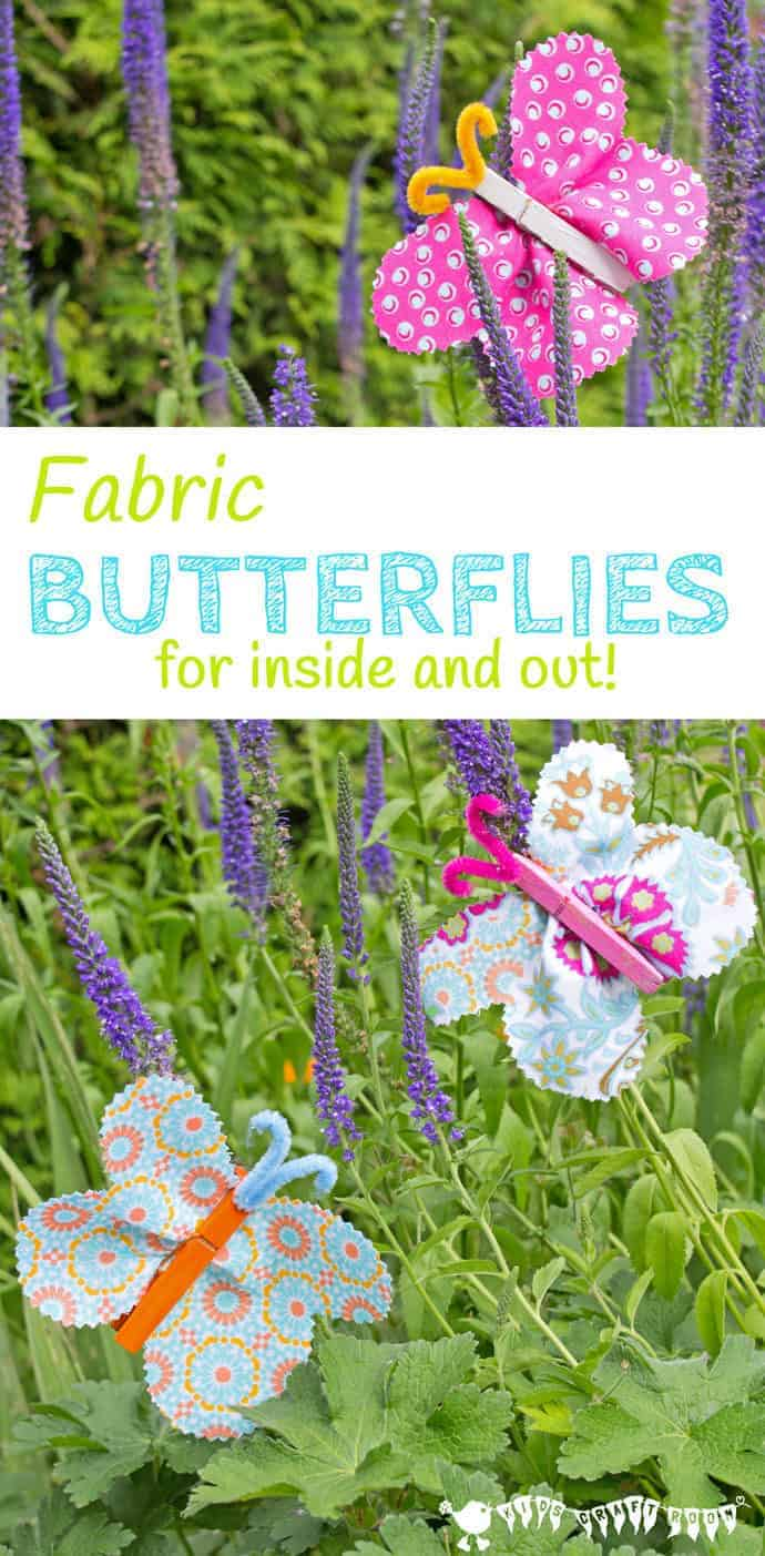 FABRIC CLOTHESPIN BUTTERFLY CRAFT is cute, colourful and easy. Beautiful homemade butterflies are a great Spring craft and Summer craft for kids to decorate the home and garden. #kidscrafts #springcrafts #summercrafts #butterflies #butterflycrafts #craftsforkids #kidscraftroom #butterfly #clothespin #clothespincrafts