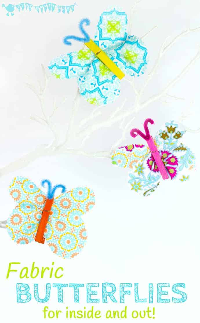 This FABRIC CLOTHESPIN BUTTERFLY CRAFT is cute, colourful and easy. Kids will love to decorate the house or garden with their beautiful handmade butterflies. A great Spring craft and Summer craft for kids.