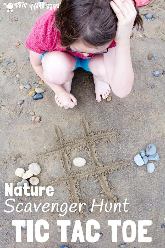 This fun NATURE SCAVENGER HUNT TIC TAC TOE game has a clever twist that keeps your kids engaged for longer and gets them learning about the natural world around them time and time again! #scavengerhunt #natureactivities #tictactoe #noughtsandcrosses #outsidegames #beachgames #beachactivities #outdoorgames #games #familygames #beach #kidscraftroom #kidsactivities #play #playideas #outsideplay #outdoorplay