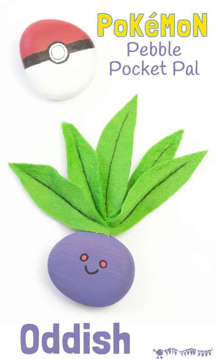 ODDISH POKEMON ROCK CRAFT - Cute and fun Pokemon craft for kids - an adorable pocket sized Oddish rock craft you can play with. #pokemon #pokemongo #pokemoncrafts #rockcrafts #rockpainting #pebbles #rocks #kidscrafts #craftsforkids #kidsactivities #kidscraftroom #oddish #pokeball #naturecrafts