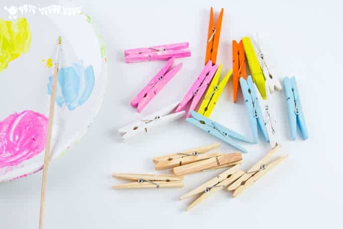 Painting-clothespins-for-a-butterfly-craft