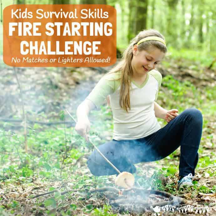SURVIVAL SKILLS FOR KIDS - FIRE STARTING CHALLENGE (no matches allowed!) Are you looking for ways to get your big kids unplugged, outside and enjoying nature? Your tweens and teens will love this awesome bushcraft activity. NO FIRE = NO COOKING = NO DINNER! Are your kids up for the challenge?
