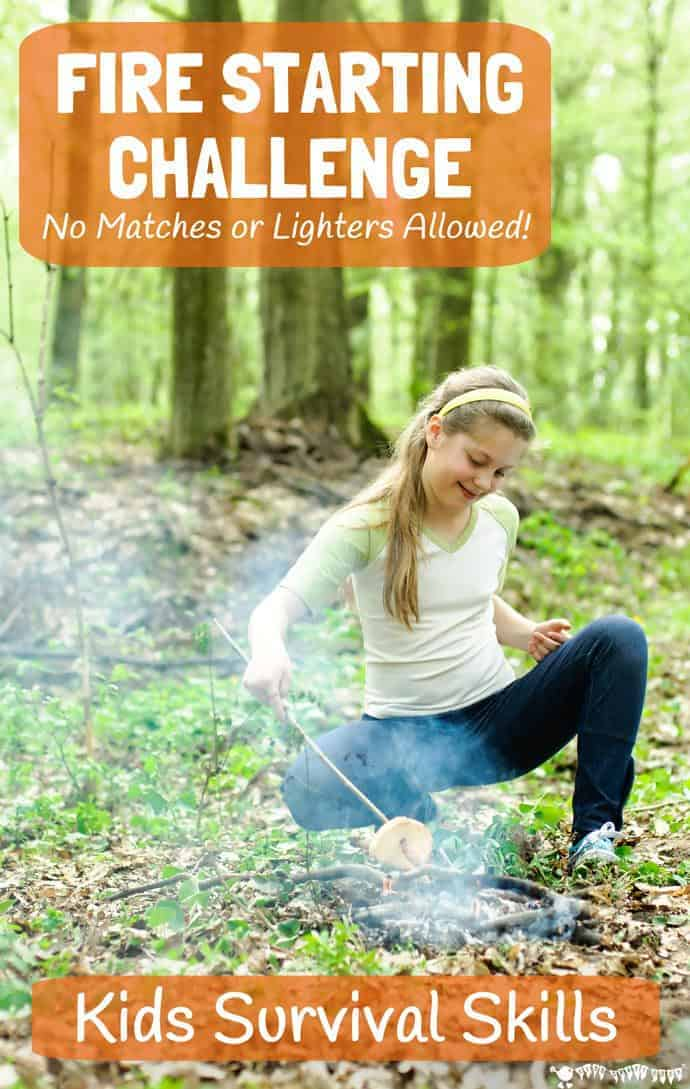 Looking for ways to get big kids unplugged, outside and enjoying nature? Try this awesome Survival Skills For Kids FIRE STARTING CHALLENGE (no matches allowed!) Kids can learn new bushcraft skills whilst having fun ... No Fire = No Cooking = No Dinner! Are your kids up for the challenge?