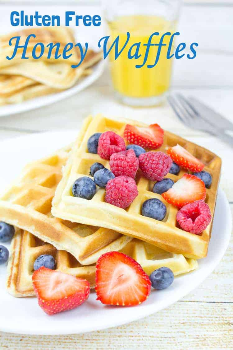 Gluten Free Honey Waffles are perfect for when you're in a rush! Quick, easy, super versatile and tasty. Great for kids breakfasts and snacks.