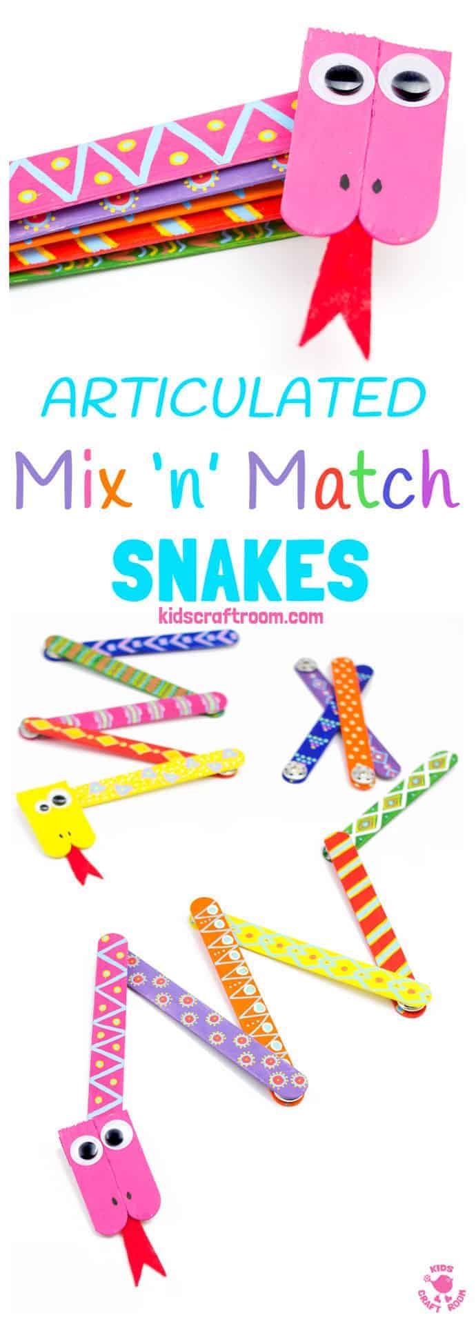 SNAKE CRAFT: This Mix 'N Match Articulated Snake Craft is such fun and twists, turns and slithers like a real one! With bright and colourful interchangeable body parts kids can make a unique snake toy every time they play! #snakecrafts #snakes #popsiclesticks #kidscrafts #kidscraft #kidcrafts #ECE #kidcraft #kidscrafts101 #craftideas #craftsforkids #funforkids #preschool #preK #earlyyears #letsgetcrafty #kidscreate #creativekids #craftykids #kidsactivities #activitiesforkids