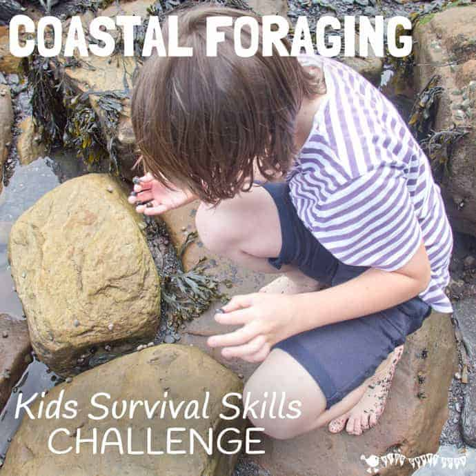 Coastal foraging is a fun survival skills for kids activity. Get kids outside and engaged with Nature finding & cooking their own seaside food for free.