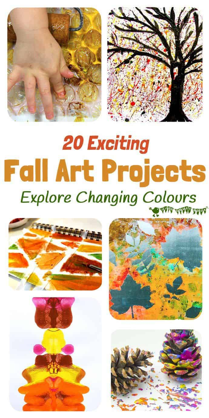 Fall Art Projects For Kids You Must Try! Here are 20 exciting Fall art ideas that explore Autumn colours in new and exciting ways. You'll never look at red, orange and yellow paint in the same way again! Fall Painting ideas made fun!