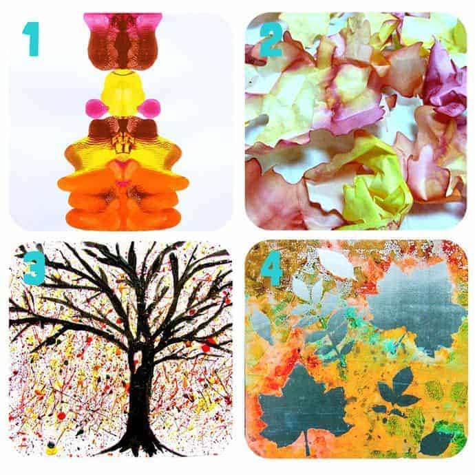 Collage-1-Fall Art Projects For Kids You Must Try! Here are 20 exciting Fall art ideas that explore Autumn colours in new and exciting ways. You'll never look at red, orange and yellow paint in the same way again! Fall Painting ideas made fun!