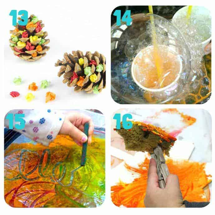 Collage-4-Fall Art Projects For Kids You Must Try! Here are 20 exciting Fall art ideas that explore Autumn colours in new and exciting ways. You'll never look at red, orange and yellow paint in the same way again! Fall Painting ideas made fun!